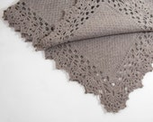 Knitted Baby Blanket Alpaca and Merino Baby Blanket- Brown Gray Lacy Crochet Baby Blanket Shower Gift Lap Blanket Fuzzy Warm