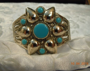 Beautiful Vintage Bell Silver Tone Faux Turquoise Cuff Bracelet