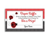 INSTANT DOWNLOAD, ladybug baby shower, diaper raffle insert, diaper raffle ticket, baby shower printables, baby girl shower, diaper shower