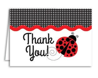 ladybug thank you cards, ladybug baby shower, thank you cards printable, thank you cards, baby shower thank you cards girl, INSTANT DOWNLOAD