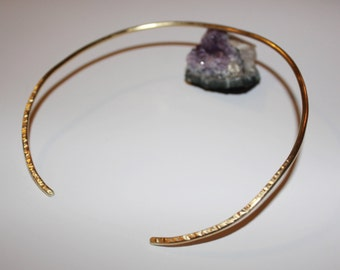 Hammered Open Choker Cuff in Gold & Silver