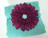 Pale Turquoise Newborn Cheesecloth Wrap with Eggplant Purple Silk Flower Headband - Newborn Photo Prop, Baby Shower Gift for a Baby Girl