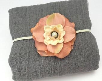 Grey Newborn Cheesecloth Wrap and Tea Rose, Pale Peach Headband - Newborn Wrap Newborn Portrait Prop Photography Prop Baby Shower Gift