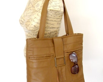 Recycled Leather Handbag Tote in Caramel Brown - 7 Pockets - Upcycled Leather