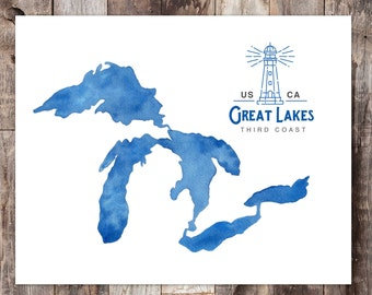 Great Lakes Lighthouse, Great Lakes Print, Great Lakes Decor, Great Lakes art, Michigan Art, Great Lakes Gift, Great Lakes map, The Big Lake