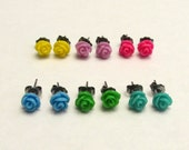 Sale Beautiful Pair of Resin Rose Flower Earrings--You pick the Color