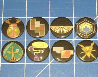 Set of 8 Pokemon Gym Badges - Kalos League