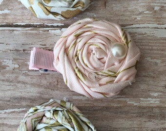Beautiful Pink Gold Rosette Trio Rolled Frayed Fabric Rosette Hair Clip Set Babies-Toddlers-Girls-Women