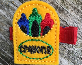 Yellow Crayon Box Back to School Felt Hair Clip Clippie Babies Toddlers Girls