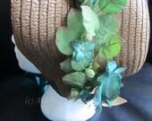 Beautiful Regency Bonnet, Dusky Green Roses, Brown Straw Weave, Emerald Green Ribbon, Georgian Bonnet, Easter Bonnet, Jane Austen Bonnet