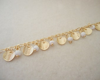 A-174. 1m, Gold Plated, Stone and Disk charms Chain