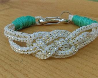 White & teal Nautical Knot Bracelet