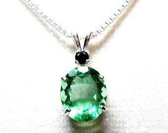 "Topaz pendant, green topaz, topaz accent pendant,birthstone pendant, green black,  ""Mint Chocolate Chip"""