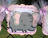 elephant baby shower banner, its a girl banner, pink, lavender and grey chevron
