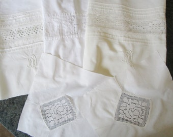 5 Vintage French Pieces Lace Broderie Anglaise Crochet Inserts Monograms for Rework Suitable for Lavender Bags Patchwork Hanky Cases