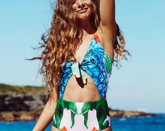 ON SALE!!! One piece swimsuit bikini tropical print swimwear resort beachwear