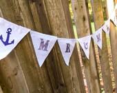"Nautical Mr & Mrs Banner, Wedding Pennant, Wedding Decoration, Anchor Fabric Pennant Banner 7.5"" x 7.5"""