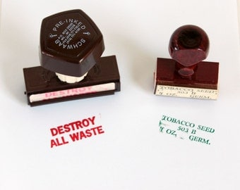 Rubber Stamps: Self Inking Stamp, Wooden Stamp, Vintage Office Supplies