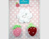 STORE CLOSING Sale Riley Blake Sew Together Crochet White Flower, Pink and Red Strawberries