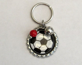 Soccer Bottlecap Keychain with Soccer Ball Charm and a Red Bead