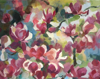Pink magnolias. Original oil painting. Impressionism.