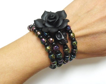 Black Skull Bracelet Day Of The Dead Wedding Jewelry Midnight Wrap Rose