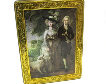 Vintage Collectible Cookie Tin Victorian Couple Large Kalar
