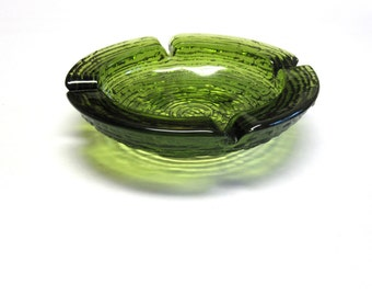 Large Green Glass Ashtray Anchor Hocking
