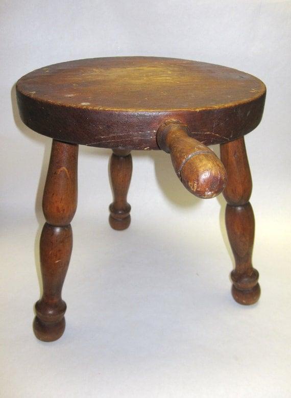 3 Legged Wooden Stool ~ Wood milk stool vintage legged rustic plant stand