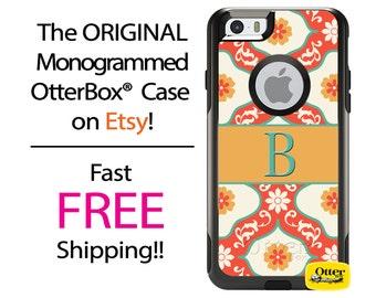 iPhone OtterBox Commuter Case for iPhone 7, 7 Plus, 6/6s, 6 Plus/6s Plus, 5/5s/SE, 5c Galaxy S7 S6 S5 Note 5 Monogrammed Coral Floral Case