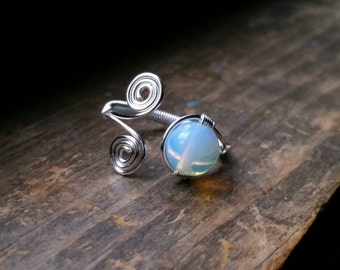 Opalite Moonstone Adjustable Wire Wrapped Ring