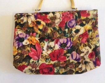 Pretty Floral Vintage 1960s Small Handbag