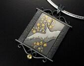 Japanese allspice in a winter scene pendant