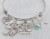 MAID OF HONOR Gift - Thank you for standing by my side, Beach Wedding- Initial Bridal Jewelry-Expandable Bangle -Starfish-Charm Bracelet