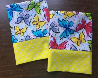 Bright Butterfly pillow case set with yellow and white polka dot cuff standard and queen available