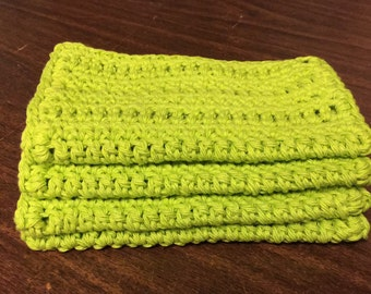 4 Large dish cloths made with 100% cotton yarn Hot Green