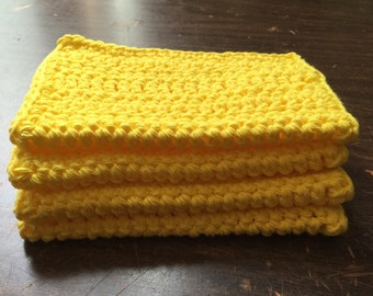 4 Large dish cloths made with 100% cotton yarn in the color Sharp Yellow