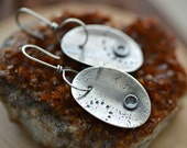 Textured silver dangles, artisan silver earrings, long silver earrings, journey earrings, everyday earrings, rustic
