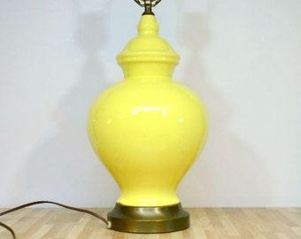 Vintage Yellow Ginger Jar Lamp 3-Way Portable Lemon Butter Pale Yellow Table Lamp