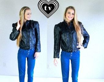 Half Off vtg 80s BLACK leather MOTORCYCLE JACKET Medium/Large outerwear coat rocker moto biker