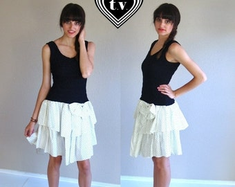 Half Off sale vtg 80s Tiered RUFFLE polka dot Bodycon PARTY DRESS xs/s bandage open back black white puckered