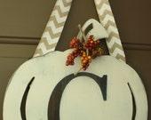 Pumpkin letter wreath C Fall Door Hanger -READY TO SHIP