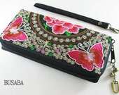 Personalized Monogramed Wallet, Butterfly Embroidered Zippered Wallet, Colorful Hmong Tribal Long Wallet