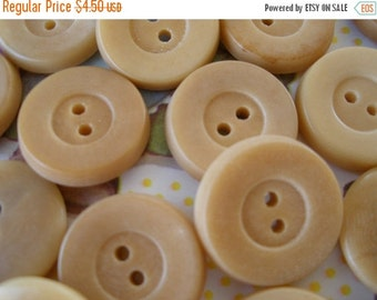 "Cool Vintage Buttons - 24 vegetable ivory  3/4"" sew thru buttons for sewing and crafts camel color 2-hole ecru scrapbooking paper tag supply"