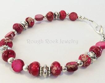 Hot Pink Stone Bracelet, Howlite Bracelet, Pink Bracelet, Dark Pink Bracelet, Stone Bracelet