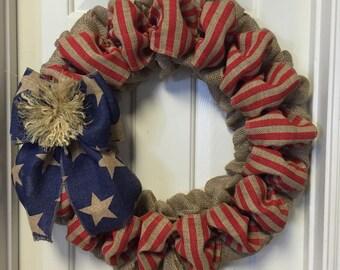 4th Of July Burlap Wreath, American Flag Wreath, Patriotic Burlap Wreath, Ready To Ship