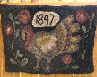 Primitive Folk Art Hooked Turkey Thanksgiving Rug Early Style