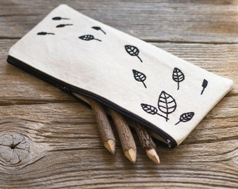 Natural White Cotton Pencil Case with Hand Embroidered Leaves in Black, Nature Inspired School Supplies, Pen Holder