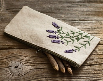 Hand embroidered Lavender Flowers on Natural Linen and Cotton Pencil Case, Nature Inspired School Supplies, French Country Pen Holder