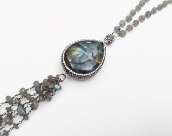 Large Labradorite Pendant Tassel Necklace, Sterling Silver, Swarovski Crystal Necklace, Layer Necklace, Long Necklace